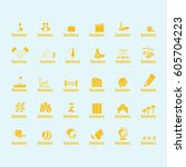 business icons set isolated on... | Shutterstock .eps vector #605704223