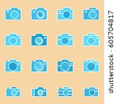 set of photo camera icon or... | Shutterstock .eps vector #605704817