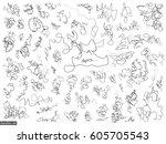 doodles set. scribble... | Shutterstock .eps vector #605705543