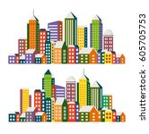 set view of the city in the...   Shutterstock . vector #605705753