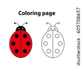 ladybug   painting page  game... | Shutterstock .eps vector #605708657