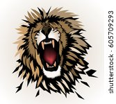 abstract roaring  lion  ... | Shutterstock .eps vector #605709293