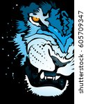 abstract roaring  lion  ... | Shutterstock .eps vector #605709347
