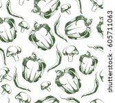 hand drawn seamless vegetable... | Shutterstock .eps vector #605711063