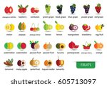 fruits icons vector | Shutterstock .eps vector #605713097