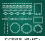 set of empty round frames ... | Shutterstock .eps vector #605718947