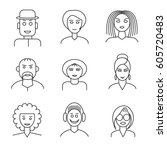 set of linear people face icons.... | Shutterstock .eps vector #605720483