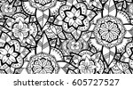 abstract seamless black and... | Shutterstock .eps vector #605727527