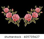 embroidery colorful floral... | Shutterstock .eps vector #605735627