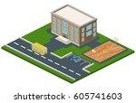 isometric 3d concept...   Shutterstock . vector #605741603