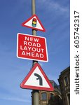 Small photo of New road layout ahead sign