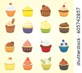 set of cute vector cupcakes and ... | Shutterstock .eps vector #605742857