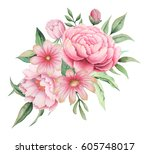 watercolor invitation design... | Shutterstock . vector #605748017