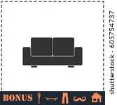 sofa icon flat. simple... | Shutterstock . vector #605754737