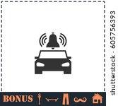 car alarm icon flat. simple... | Shutterstock . vector #605756393