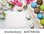 painted easter eggs and... | Shutterstock . vector #605758433