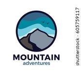 mountain outdoor adventure logo ... | Shutterstock .eps vector #605759117