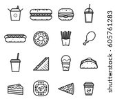 fast food icons. vector set. | Shutterstock .eps vector #605761283