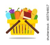 shopping basket with food and... | Shutterstock .eps vector #605764817