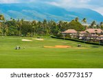 anonymous golfer in the... | Shutterstock . vector #605773157