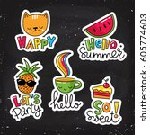 set of vector stickers  patches ... | Shutterstock .eps vector #605774603