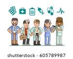 the medical team on white... | Shutterstock .eps vector #605789987