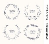 collection of floral wreath... | Shutterstock .eps vector #605791613