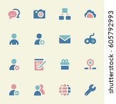 social media mobile icons ... | Shutterstock .eps vector #605792993
