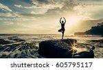 the joga sunset  | Shutterstock . vector #605795117