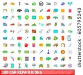 100 car repair icons set in... | Shutterstock .eps vector #605795243