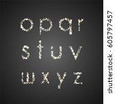 set of glittering lowercase... | Shutterstock .eps vector #605797457