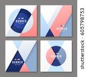 set of banner templates. bright ... | Shutterstock .eps vector #605798753