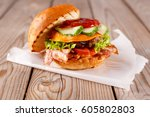 great burger open beef  red... | Shutterstock . vector #605802803