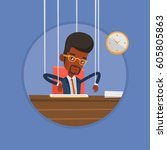 African Businessman Hanging On...