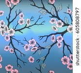 vector seamless background with ... | Shutterstock .eps vector #605808797