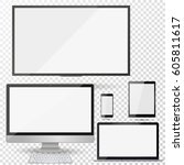set of realistic tv  lcd  led ... | Shutterstock .eps vector #605811617
