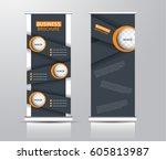 roll up vertical banner... | Shutterstock .eps vector #605813987