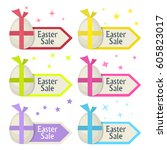 easter sale sign.egg and arrow... | Shutterstock .eps vector #605823017