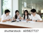 group of asian students in... | Shutterstock . vector #605827727