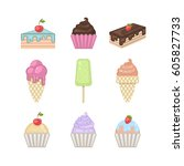 sweets set. vector ice cream ... | Shutterstock .eps vector #605827733