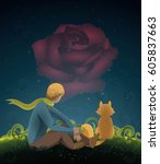 the little prince  the rose and ... | Shutterstock .eps vector #605837663