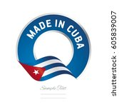 made in cuba flag blue color... | Shutterstock .eps vector #605839007