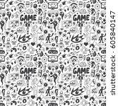 computer games seamless...   Shutterstock .eps vector #605840147