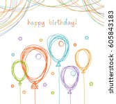 vector birthday card with... | Shutterstock .eps vector #605843183