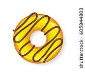 donut  begel with cream.... | Shutterstock .eps vector #605844803