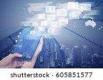 digital 4.0 technology internet ... | Shutterstock . vector #605851577
