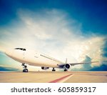 commercial airplane parking  ... | Shutterstock . vector #605859317