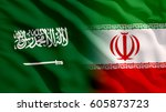 waving saudi arabia and iran... | Shutterstock . vector #605873723