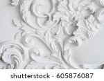 luxury white wall design bas... | Shutterstock . vector #605876087