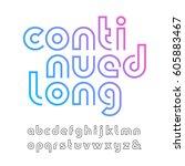 linear font. vector alphabet... | Shutterstock .eps vector #605883467